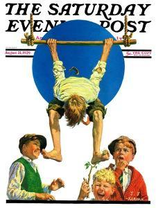 """""""Trapeze Tickle,"""" Saturday Evening Post Cover, August 31, 1929 by J.F. Kernan"""