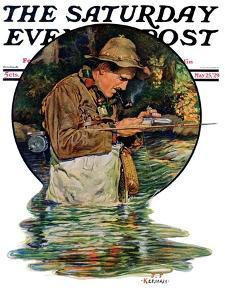 """""""Tying on a Fly,"""" Saturday Evening Post Cover, May 25, 1929 by J.F. Kernan"""