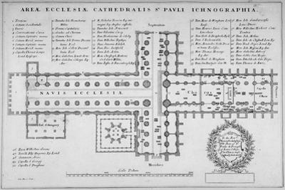 Plan of the Old St Paul's Cathedral, City of London, 1657 by J Harris