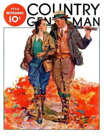 """""""Hunting Couple on Walk,"""" Country Gentleman Cover, November 1, 1936 by J. Hennesy"""