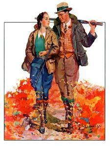"""Hunting Couple on Walk,""November 1, 1936 by J. Hennesy"