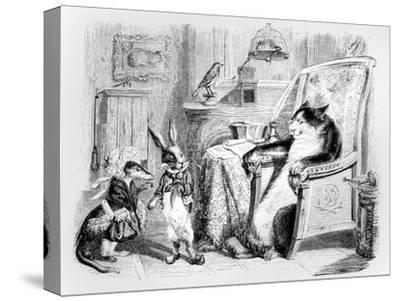 The Cat, the Weasel and the Little Rabbit, Illustration for 'Fables' of La Fontaine (1621-95),…