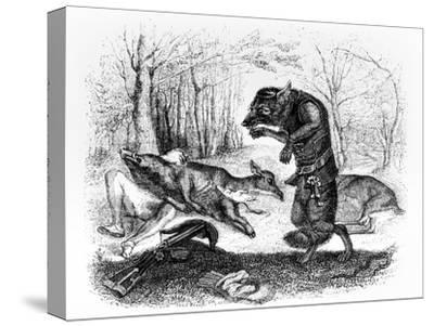 The Wolf and the Hunter, Illustration for 'Fables' of La Fontaine, Published by H. Fournier Aine,…