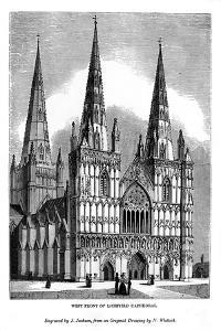 West Front of Lichfield Cathedral, 1843 by J Jackson