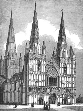 West Front of Lichfield Cathedral, Staffordshire, c1843