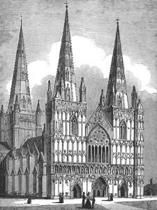 West Front of Lichfield Cathedral, Staffordshire, c1843 by J Jackson