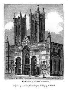 West Front of Lincolin Cathedral, 1843 by J Jackson