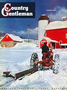 """""""Plowing Path to the Barn,"""" Country Gentleman Cover, January 1, 1947 by J. Julius Fanta"""