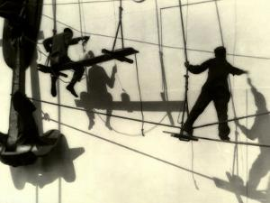 Silhouettes of Workers Using Rope Rigging to Clean and Paint the Side of a Ship by J. Kauffmann