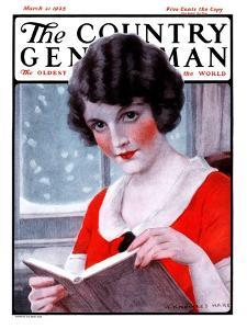 """Woman Reading Book,"" Country Gentleman Cover, March 21, 1925 by J^ Knowles Hare"