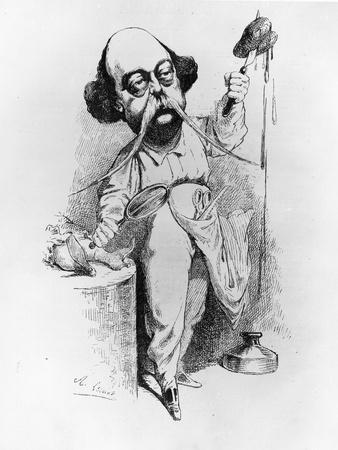 """Gustave Flaubert Dissecting Madame Bovary, Illustration from """"Parodie"""", December 1869"""