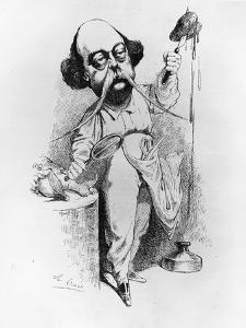 """Gustave Flaubert Dissecting Madame Bovary, Illustration from """"Parodie"""", December 1869 by J. Lemot"""