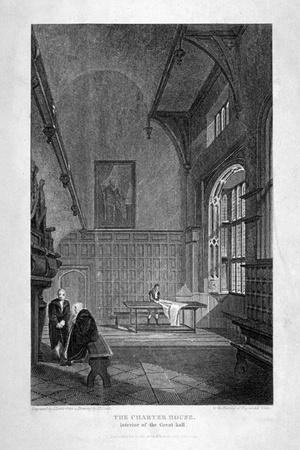 Interior of the Great Hall, Charterhouse, Finsbury, London, 1815