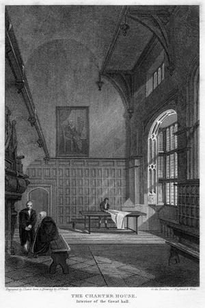 Interior of the Great Hall, Charterhouse, London, 1815