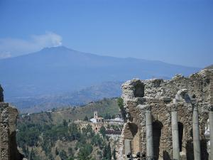 Greek Theatre and Mount Etna, Taormina, Sicily, Italy by J Lightfoot