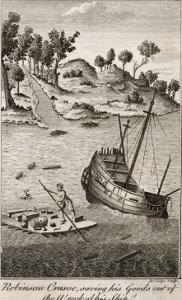 Robinson Crusoe Salvages Goods from the Wrecked Ship by J. Lodge