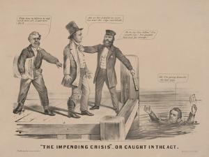 """""""The impending crisis"""" Or caught in the act, 1860 by J.M. Currier N. and Ives"""