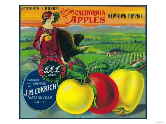 J.M.L. Apple Crate Label - Watsonville, CA-Lantern Press-Art Print