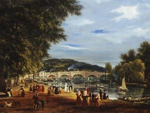 A View of Richmond Bridge with Boats on the River and Figures Promenading by J^ M^ W^ Turner