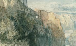 Burg Katz with View towards Burg Rheinfels, 1817 by J^ M^ W^ Turner