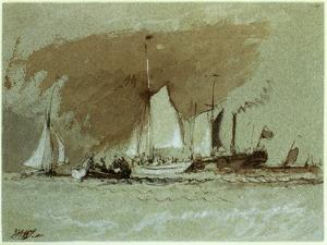 Fishing Boats at Sea, Boarding a Steamer Off the Isle of Wight by J. M. W. Turner