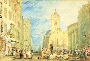 High Street, Edinburgh, C.1818 (W/C, Pen, Ink, Graphite and Scratching Out on Wove Paper) by J^ M^ W^ Turner