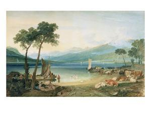 Lake Geneva and Mont Blanc, 1802-5 (W/C with Scraping Out, Pen and Ink on Wove Paper) by J. M. W. Turner