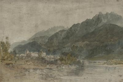 St Gothard and Mont Blanc Sketchbook [Finberg LXXV], Bonneville and the River Arve by J. M. W. Turner