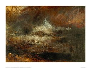 Stormy Sea with Blazing Wreck by J^ M^ W^ Turner
