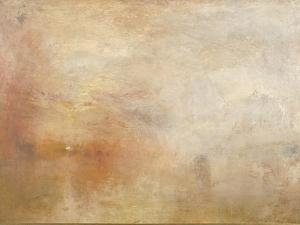 Sun Setting over a Lake by J^ M^ W^ Turner