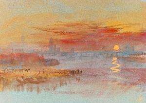 Sunset on Rouen by J^ M^ W^ Turner