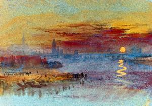 Sunset on Rouen by J. M. W. Turner