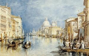 The Grand Canal, Venice, with Gondolas and Figures in the Foreground, circa 1818 by J^ M^ W^ Turner
