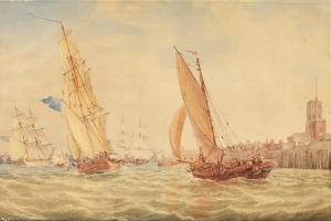 Three Sloops of War and a Fishing Smack Going into Habour, Portsmouth, C.1800-30 by J^ M^ W^ Turner