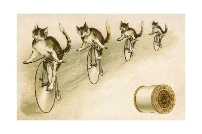 J&P Coats Trade Card with Cats Bicycling--Giclee Print