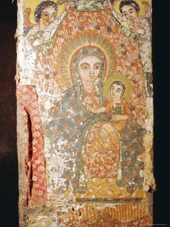Fresco of Madonna and Child, St. Mary's Church (Bieta Maryam), Wollo Region, Lalibela, Ethiopia by J P De Manne