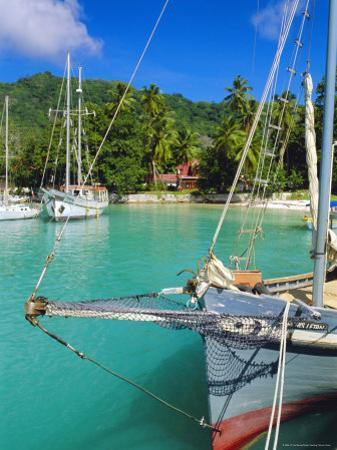 Harbour and Village, La Digue, Seychelles, Indian Ocean by J P De Manne