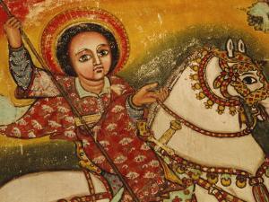 Mural Painting in the Church of Narga Selassie,Dek Island on Lake Tana, Ethiopia, Africa by J P De Manne