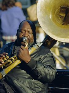 Portrait of a Jazz Musician in the French Quarter, New Orleans, Louisiana, USA by J P De Manne