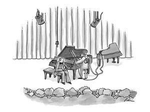 Concert pianist waits for mechanic, who has brought onto the stage another? - New Yorker Cartoon by J.P. Rini