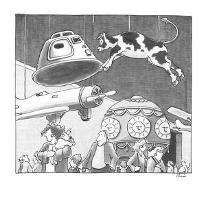 Cow suspended from ceiling in air and space museum. - New Yorker Cartoon by J.P. Rini