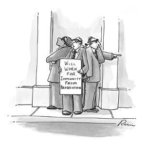 Secret service type men wearing sunglasses standing together looking paran? - New Yorker Cartoon by J.P. Rini