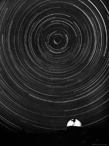 Above the Mt. Palomar Observatory, a 6 Hour Photo Exposure Centered Upon Polaris or the North Star by J. R. Eyerman