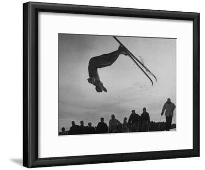 Acrobatic Skier Jack Reddish in Somersault at Sun Valley Ski Resort