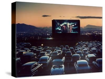 "Actor Charlton Heston as Moses in ""The Ten Commandments,"" Shown at Drive-in Theater"