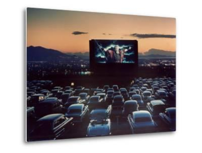 """Actor Charlton Heston as Moses in """"The Ten Commandments,"""" Shown at Drive-in Theater"""