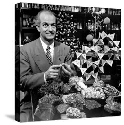 Cal. Tech Chemistry Professor, Dr. Linus Pauling with His Mineral Collection