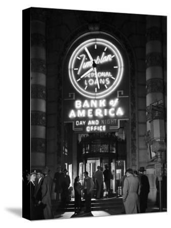 Customers Standing in Front of a Branch of Bank of America, Open from 10 to 10, Six Days a Week