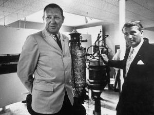 Dr. Werner Von Braun and Paul Horgan with a Piece from the Goddard Rocket Collection by J^ R^ Eyerman