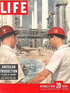 DuPont Nylon Salts Plant, Foremen John McLeod and Sam Mottice Checking Blueprints, October 4, 1948 by J. R. Eyerman